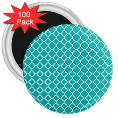 Turquoise Quatrefoil Pattern 3  Magnet (100 Pack) by Zandiepants