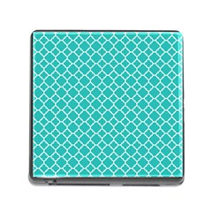Turquoise Quatrefoil Pattern Memory Card Reader (square) by Zandiepants