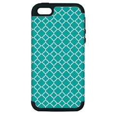 Turquoise Quatrefoil Pattern Apple Iphone 5 Hardshell Case (pc+silicone) by Zandiepants