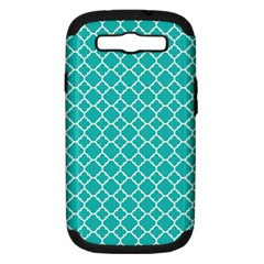 Turquoise Quatrefoil Pattern Samsung Galaxy S Iii Hardshell Case (pc+silicone) by Zandiepants