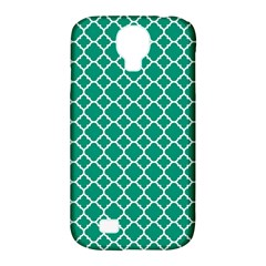 Emerald Green Quatrefoil Pattern Samsung Galaxy S4 Classic Hardshell Case (pc+silicone) by Zandiepants