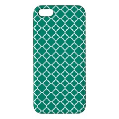 Emerald Green Quatrefoil Pattern Iphone 5s/ Se Premium Hardshell Case by Zandiepants