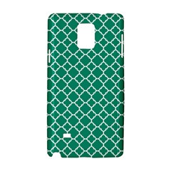 Emerald Green Quatrefoil Pattern Samsung Galaxy Note 4 Hardshell Case by Zandiepants