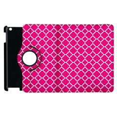 Hot Pink Quatrefoil Pattern Apple Ipad 3/4 Flip 360 Case by Zandiepants
