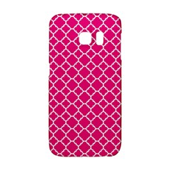 Hot Pink Quatrefoil Pattern Samsung Galaxy S6 Edge Hardshell Case by Zandiepants