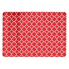 Poppy Red Quatrefoil Pattern Samsung Galaxy Tab 10 1  P7500 Flip Case by Zandiepants