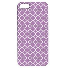 Lilac Purple Quatrefoil Pattern Apple Iphone 5 Hardshell Case With Stand by Zandiepants