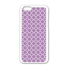 Lilac Purple Quatrefoil Pattern Apple Iphone 6/6s White Enamel Case by Zandiepants