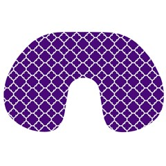 Royal Purple Quatrefoil Pattern Travel Neck Pillow by Zandiepants