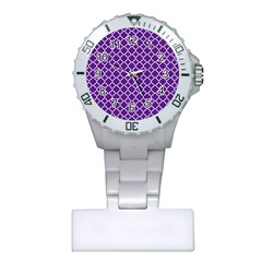Royal Purple Quatrefoil Pattern Plastic Nurses Watch by Zandiepants