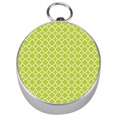 Spring Green Quatrefoil Pattern Silver Compass by Zandiepants
