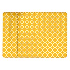 Sunny Yellow Quatrefoil Pattern Samsung Galaxy Tab 10 1  P7500 Flip Case by Zandiepants