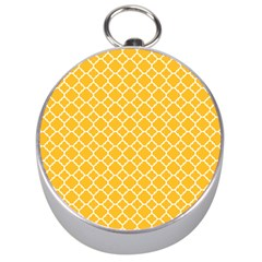 Sunny Yellow Quatrefoil Pattern Silver Compass by Zandiepants