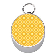 Sunny Yellow Quatrefoil Pattern Silver Compass (mini) by Zandiepants