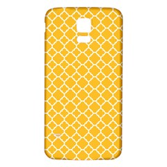 Sunny Yellow Quatrefoil Pattern Samsung Galaxy S5 Back Case (white) by Zandiepants