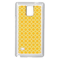 Sunny Yellow Quatrefoil Pattern Samsung Galaxy Note 4 Case (white) by Zandiepants