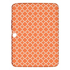 Tangerine Orange Quatrefoil Pattern Samsung Galaxy Tab 3 (10 1 ) P5200 Hardshell Case  by Zandiepants
