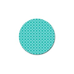 Turquoise Quatrefoil Pattern Golf Ball Marker (10 Pack) by Zandiepants
