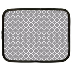 Grey Quatrefoil Pattern Netbook Case (xxl) by Zandiepants