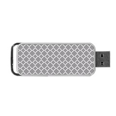 Grey Quatrefoil Pattern Portable Usb Flash (one Side) by Zandiepants