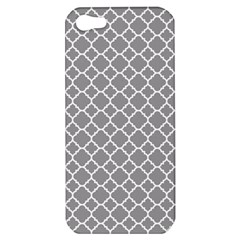 Grey Quatrefoil Pattern Apple Iphone 5 Hardshell Case by Zandiepants