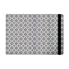 Grey Quatrefoil Pattern Apple Ipad Mini Flip Case by Zandiepants