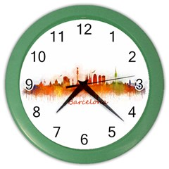 Barcelona City Art Color Wall Clocks by hqphoto