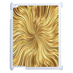Chic Festive Elegant Gold Stripes Apple Ipad 2 Case (white) by yoursparklingshop