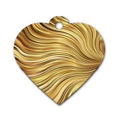 Chic Festive Gold Brown Glitter Stripes Dog Tag Heart (one Side) by yoursparklingshop