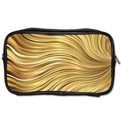 Chic Festive Gold Brown Glitter Stripes Toiletries Bags by yoursparklingshop