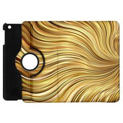 Chic Festive Gold Brown Glitter Stripes Apple Ipad Mini Flip 360 Case by yoursparklingshop