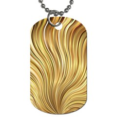 Gold Stripes Festive Flowing Flame  Dog Tag (two Sides) by yoursparklingshop
