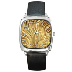 Gold Stripes Festive Flowing Flame  Square Metal Watch by yoursparklingshop