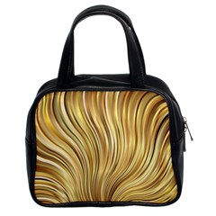 Gold Stripes Festive Flowing Flame  Classic Handbags (2 Sides) by yoursparklingshop