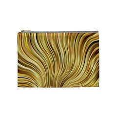 Gold Stripes Festive Flowing Flame  Cosmetic Bag (medium)  by yoursparklingshop