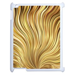 Gold Stripes Festive Flowing Flame  Apple Ipad 2 Case (white) by yoursparklingshop