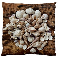 Tropical Sea Shells Collection, Copper Background Standard Flano Cushion Case (one Side) by yoursparklingshop