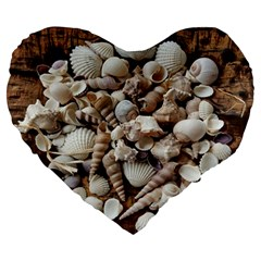 Tropical Sea Shells Collection, Copper Background Large 19  Premium Flano Heart Shape Cushions