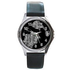 Funny Santa Black And White Typography Round Metal Watch by yoursparklingshop