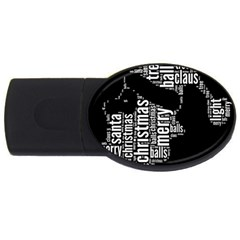 Funny Santa Black And White Typography Usb Flash Drive Oval (2 Gb)  by yoursparklingshop