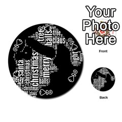 Funny Santa Black And White Typography Playing Cards 54 (round)  by yoursparklingshop