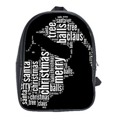 Funny Santa Black And White Typography School Bags(large)  by yoursparklingshop