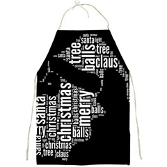 Funny Santa Black And White Typography Full Print Aprons by yoursparklingshop