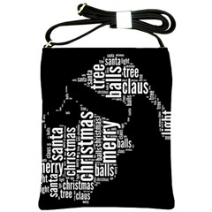 Funny Santa Black And White Typography Shoulder Sling Bags by yoursparklingshop