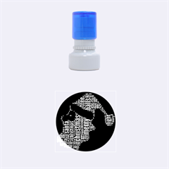 Funny Santa Black And White Typography Rubber Round Stamps (small) by yoursparklingshop