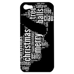 Funny Santa Black And White Typography Apple Iphone 5 Hardshell Case by yoursparklingshop