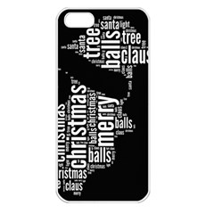 Funny Santa Black And White Typography Apple Iphone 5 Seamless Case (white) by yoursparklingshop