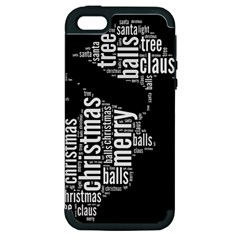 Funny Santa Black And White Typography Apple Iphone 5 Hardshell Case (pc+silicone) by yoursparklingshop
