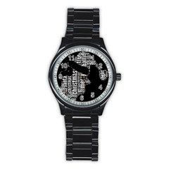Funny Santa Black And White Typography Stainless Steel Round Watch by yoursparklingshop