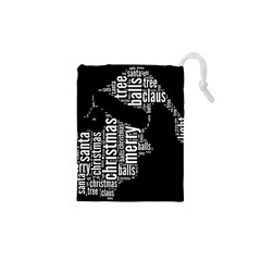 Funny Santa Black And White Typography Drawstring Pouches (xs)  by yoursparklingshop